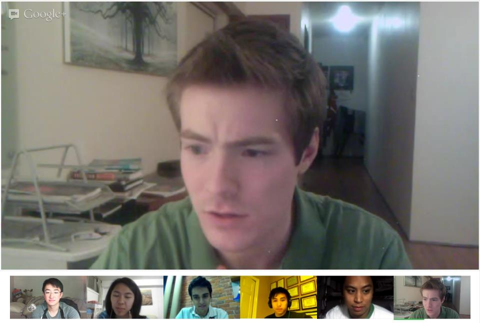 Communications team meeting on Google Hangout