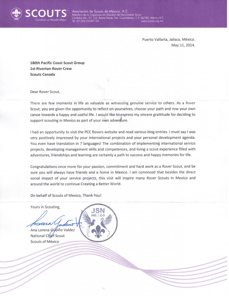 Letter from the National Chief Scout of Mexico, Lorena Valdez