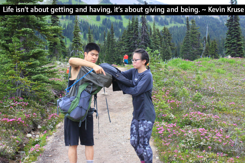 Life isn't about getting and having, it's about giving and being. ~ Kevin Kruse